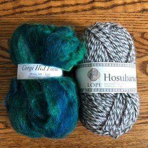 Icelandic yarn and Corgi Hill Wool silk roving